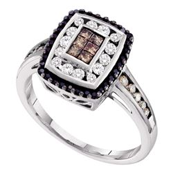 0.50 CTW Princess Cognac-brown Black Color Diamond Ring 14KT White Gold - REF-49Y5X