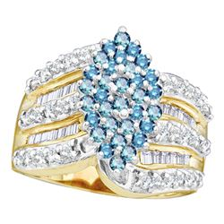 1.02 CTW Blue Color Diamond Oval Cluster Ring 10KT Yellow Gold - REF-64N4F