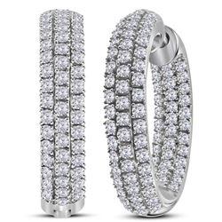 1.96 CTW Diamond In/Out Hoop Earrings 14KT White Gold - REF-157X5Y