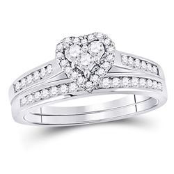 0.55 CTW Diamond Heart Love Bridal Engagement Ring 10KT White Gold - REF-37N5F