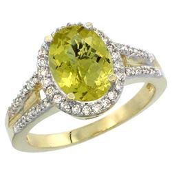Natural 2.72 ctw lemon-quartz & Diamond Engagement Ring 14K Yellow Gold - REF-53W2K