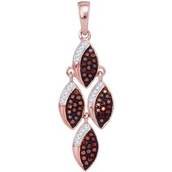 0.25 CTW Red Color Diamond Cascading Oval Pendant 10KT Rose Gold - REF-30N2F