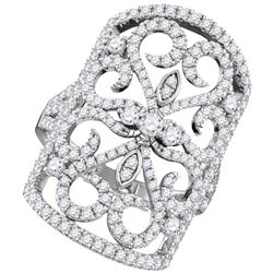 1.56 CTW Diamond Vintage-style Knuckle Ring 14KT White Gold - REF-214F5N