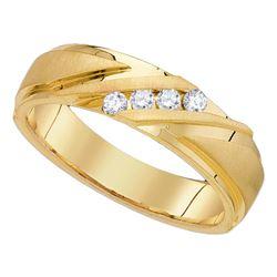 0.25 CTW Mens Channel-set Diamond Wedding Anniversary Ring 10KT Yellow Gold - REF-56Y2X