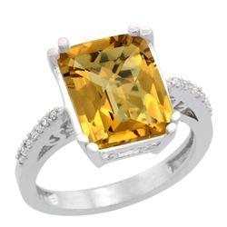 Natural 5.48 ctw Whisky-quartz & Diamond Engagement Ring 14K White Gold - REF-49X7A