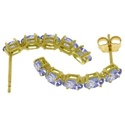 Genuine 2.5 ctw Tanzanite Earrings Jewelry 14KT White Gold - REF-52T9A