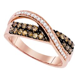 0.49 CTW Cognac-brown Color Diamond Crossover Ring 10KT Rose Gold - REF-34H4M