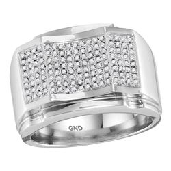0.49 CTW Mens Diamond Arched Concave Square Cluster Ring 10KT White Gold - REF-75F2N