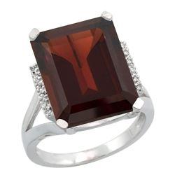 Natural 12.13 ctw Garnet & Diamond Engagement Ring 14K White Gold - REF-86Y6X