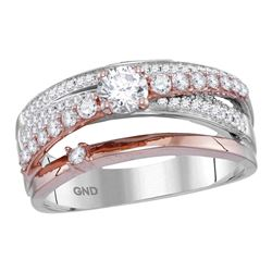 0.75 CTW Diamond Crossover Ring 14KT Two-tone Gold - REF-112K5W