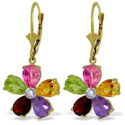 Genuine 4.43 ctw Pink Topaz, Citrine & Amethyst & Diamond Earrings Jewelry 14KT Yellow Gold - REF-50