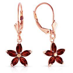 Genuine 2.8 ctw Garnet Earrings Jewelry 14KT Rose Gold - REF-46W7Y