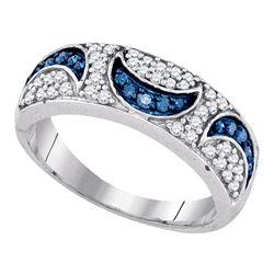 0.47 CTW Blue Color Diamond Moon Ring 10KT White Gold - REF-32W9K