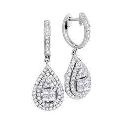 1.1 CTW Princess Diamond Teardrop Cluster Earrings 14KT White Gold - REF-134F9N