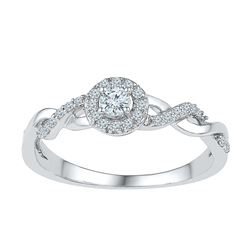 0.21 CTW Diamond Solitaire Bridal Engagement Ring 10KT White Gold - REF-22Y4X