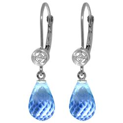 Genuine 4.53 ctw Blue Topaz & Diamond Earrings Jewelry 14KT White Gold - REF-29R3P
