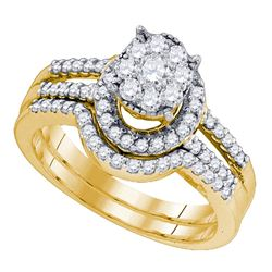 0.78 CTW Diamond Cluster Bridal Engagement Ring 10KT Yellow Gold - REF-59X9Y