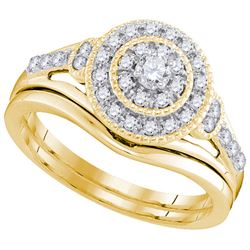 0.33 CTW Diamond Bridal Wedding Engagement Ring 10KT Yellow Gold - REF-49W5K