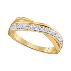 0.12 CTW Diamond Crossover Ring 10KT Yellow Gold - REF-18N2F