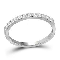 0.25 CTW Pave-set Diamond Single Row Wedding Ring 14KT White Gold - REF-26W3K