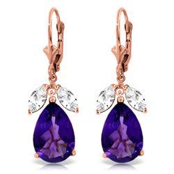 Genuine 13 ctw Amethyst & White Topaz Earrings Jewelry 14KT Rose Gold - REF-61H2X