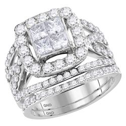 2.95 CTW Princess Diamond Bridal Engagement Ring 14KT White Gold - REF-292H5M
