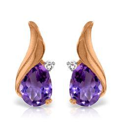 Genuine 3.16 ctw Amethyst & Diamond Earrings Jewelry 14KT Rose Gold - REF-52Z4N