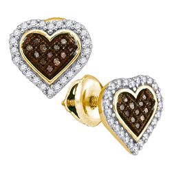 0.25 CTW Cognac-brown Color Diamond Heart Cluster Earrings 10KT Yellow Gold - REF-18N2F