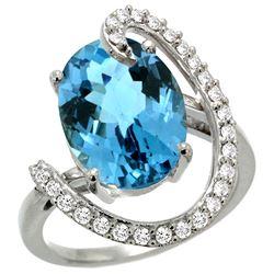 Natural 5.89 ctw London-blue-topaz & Diamond Engagement Ring 14K White Gold - REF-93W6K