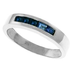 Genuine 0.60 ctw Sapphire Ring Jewelry 14KT White Gold - REF-47T5A