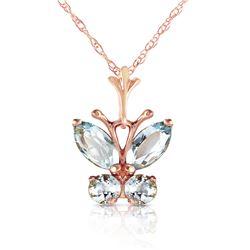 Genuine 0.60 ctw Aquamarine Necklace Jewelry 14KT Rose Gold - REF-25N2R