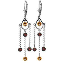 Genuine 3 ctw Citrine & Garnet Earrings Jewelry 14KT White Gold - REF-48A9K