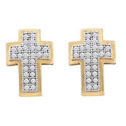 0.15 CTW Diamond Cross Screwback Stud Earrings 10KT Yellow Gold - REF-14X9Y