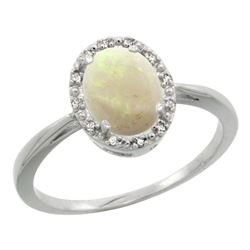Natural 0.75 ctw Opal & Diamond Engagement Ring 14K White Gold - REF-26X8A