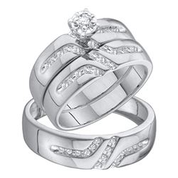 0.25 CTW His & Hers Diamond Solitaire Matching Bridal Ring 10KT White Gold - REF-41Y3X