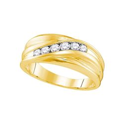 0.33 CTW Mens Diamond Wedding Ring 10KT Yellow Gold - REF-44K9W