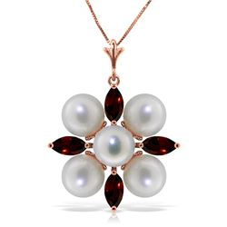 Genuine 6.3 ctw Garnet & Pearl Necklace Jewelry 14KT Rose Gold - REF-59F2Z