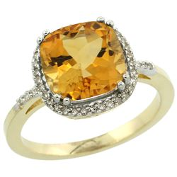 Natural 4.11 ctw Citrine & Diamond Engagement Ring 14K Yellow Gold - REF-44F2N