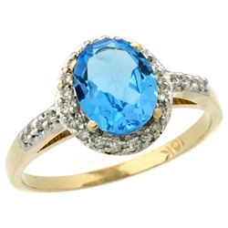 Natural 1.3 ctw Swiss-blue-topaz & Diamond Engagement Ring 14K Yellow Gold - REF-32Z2Y