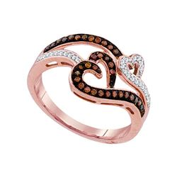 0.25 CTW Red Color Diamond Heart Love Ring 10KT Rose Gold - REF-30H2M