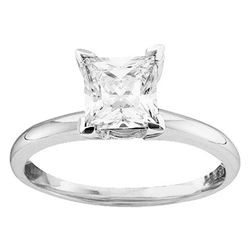 0.75 CTW Princess Diamond Solitaire Bridal Engagement Ring 14KT White Gold - REF-172K4W