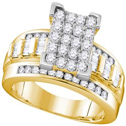 1.02 CTW Diamond Rectangle Cluster Bridal Engagement Ring 10KT Yellow Gold - REF-65W8K