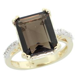 Natural 5.48 ctw Smoky-topaz & Diamond Engagement Ring 10K Yellow Gold - REF-39A6V