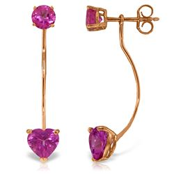 Genuine 4.55 ctw Pink Topaz Earrings Jewelry 14KT Rose Gold - REF-30T6A