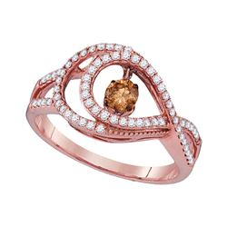0.55 CTW Cognac-brown Color Diamond Moving Twinkle Ring 10KT Rose Gold - REF-67Y4X