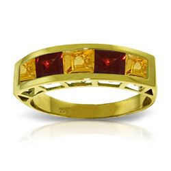 Genuine 2.25 ctw Citrine & Garnet Ring Jewelry 14KT Yellow Gold - REF-54H2X