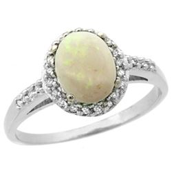 Natural 0.83 ctw Opal & Diamond Engagement Ring 14K White Gold - REF-31Z9Y