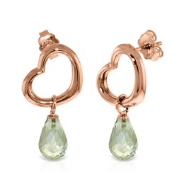 Genuine 4.5 ctw Green Amethyst Earrings Jewelry 14KT Rose Gold - REF-42P6H