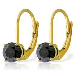 Genuine 1.0 ctw Black Diamond Earrings Jewelry 14KT Yellow Gold - REF-57Z6N
