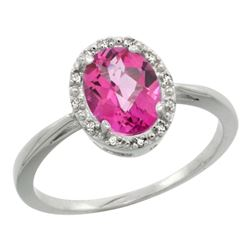 Natural 1.22 ctw Pink-topaz & Diamond Engagement Ring 10K White Gold - REF-20V3F